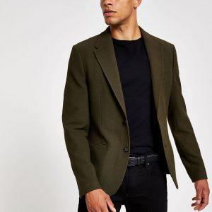 River Island Mens Khaki skinny fit textured blazer