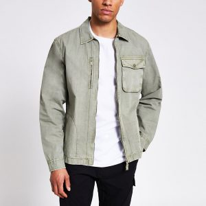 River Island Mens Khaki washed zip front overshirt