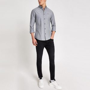River Island Mens Maison Riviera grey slim fit Oxford shirt