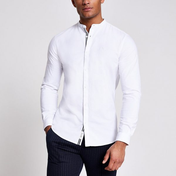 River Island Mens Maison Riviera white grandad slim fit shirt
