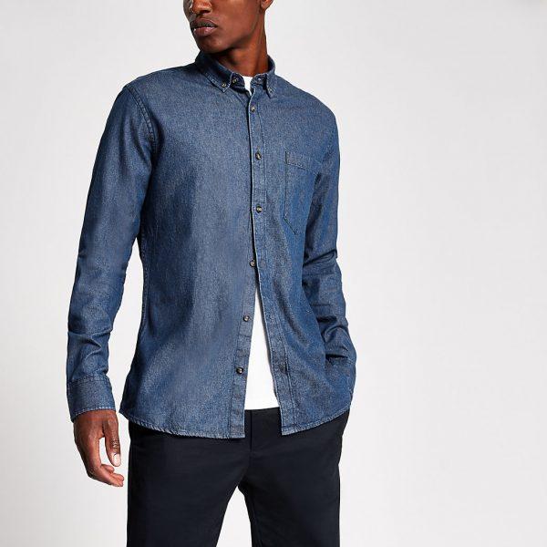 River Island Mens Only and Sons dark blue slim fit denim shirt