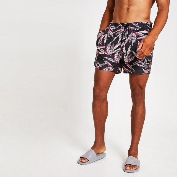 River Island Mens Only and Sons pink leaf printed swim shorts