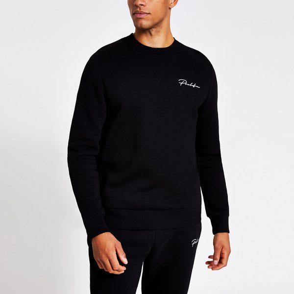 River Island Mens Prolific black regular fit sweatshirt