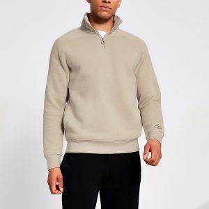 River Island Mens Prolific stone half zip slim sweatshirt