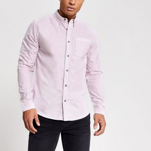 River Island Mens Purple long sleeve regular fit shirt