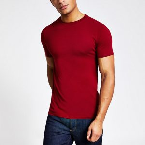 River Island Mens Red muscle fit short sleeve T-shirt