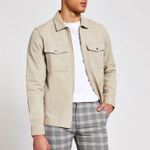 River Island Mens Stone zip through long sleeve overshirt