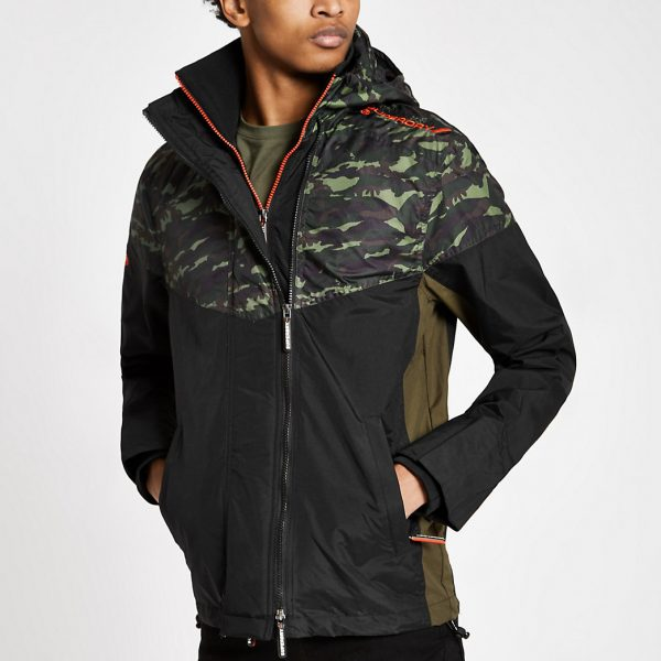 River Island Mens Superdry khaki camo hooded zip-up jacket