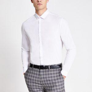 River Island Mens White long sleeve slim fit shirt