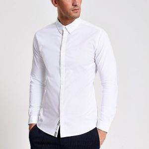 River Island Mens White muscle fit long sleeve Oxford shirt
