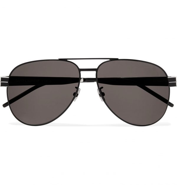 SAINT LAURENT - Aviator-Style Metal Sunglasses - Men - Black