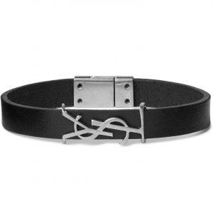 SAINT LAURENT - Logo-Detailed Silver-Tone and Leather Bracelet - Men - Black