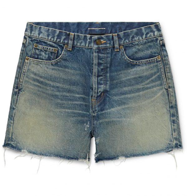 SAINT LAURENT - Slim-Fit Distressed Denim Shorts - Men - Blue