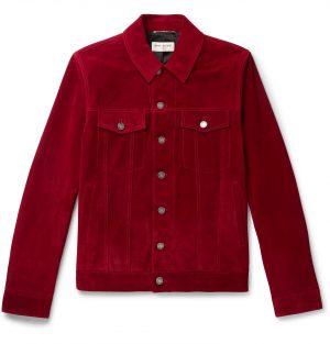 SAINT LAURENT - Suede Trucker Jacket - Men - Red