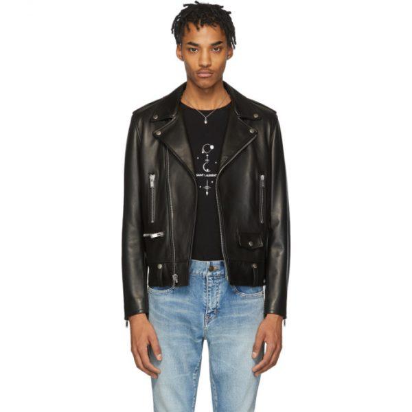 Saint Laurent Black Leather Classic Biker Jacket