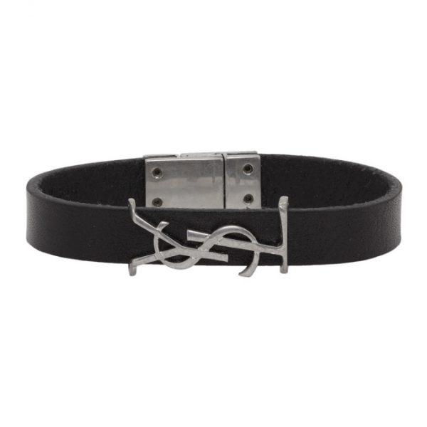 Saint Laurent Black and Silver Leather Opyum Bracelet