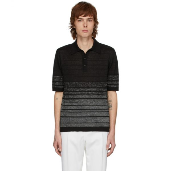 Saint Laurent Black and Silver Lurex Polo