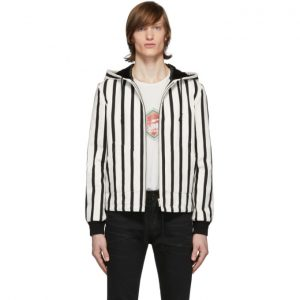 Saint Laurent Black and White Boucle Baja Jacket