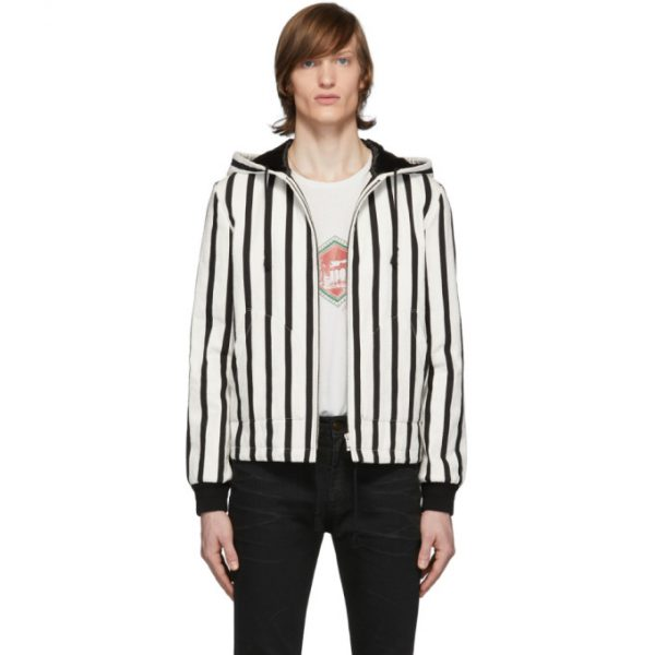 Saint Laurent Black and White Boucle Baja Jacket
