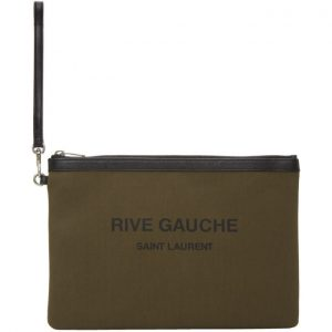 Saint Laurent Khaki Canvas Rive Gauche Pouch