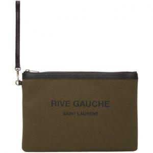 Saint Laurent Khaki Canvas Rive Gauche Pouch
