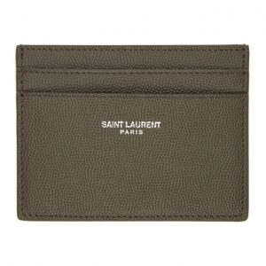 Saint Laurent Khaki Grain De Poudre Card Holder