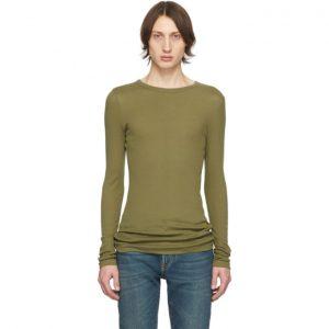 Saint Laurent Khaki Ribbed Jersey T-Shirt