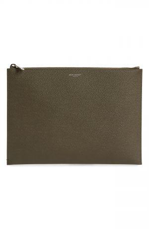 Saint Laurent Leather Ipad Case - Beige