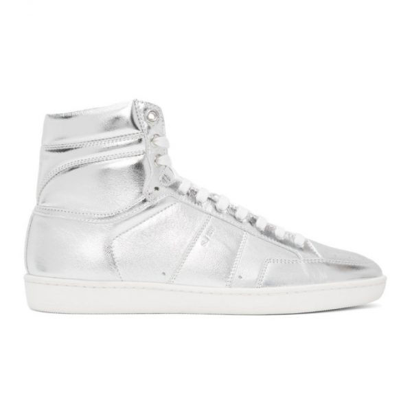 Saint Laurent Silver Court Classic SL/10H High-Top Sneakers
