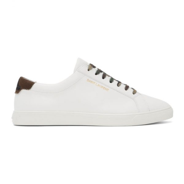 Saint Laurent White Camo Andy Sneakers