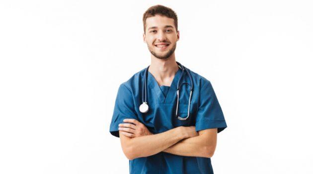 Smiling Male Nurse Blue Scrubs Stethoscope