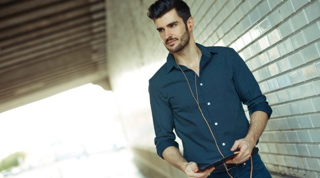 Stylish Man with Earbuds