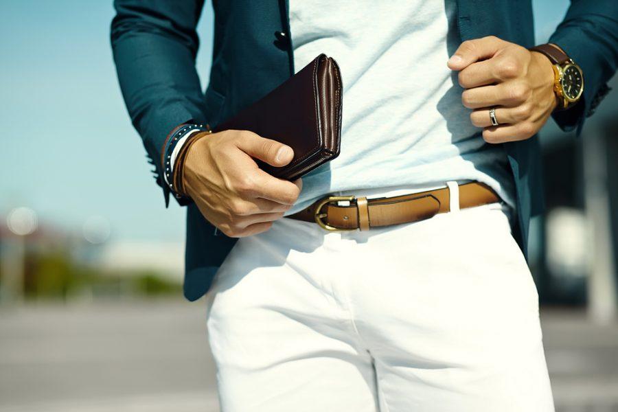Stylish Man with Wallet Watch Belt and Bracelets