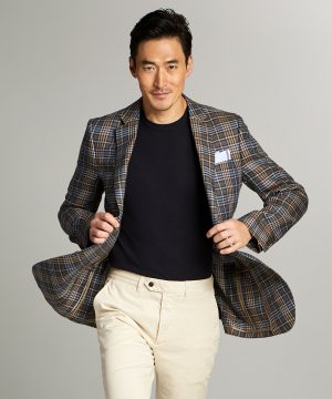 Sutton Hopsack Linen Sport Coat in Red Check