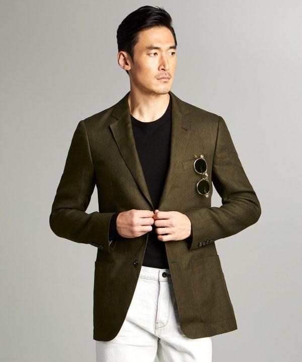 Sutton Linen Sport Coat in Olive