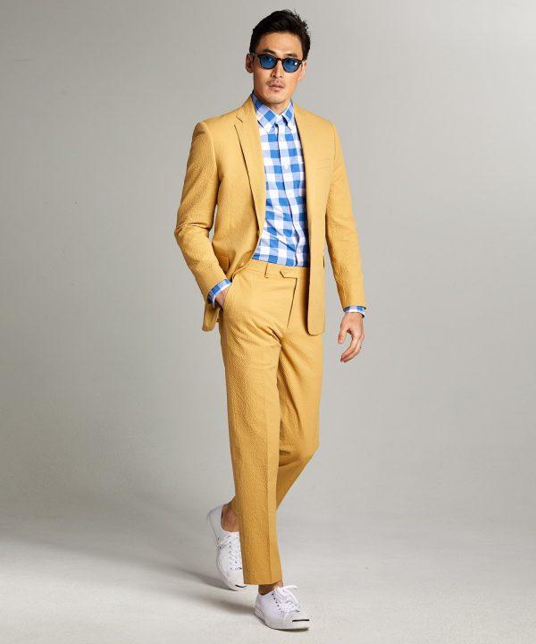 Sutton Seersucker Suit Jacket in Mustard