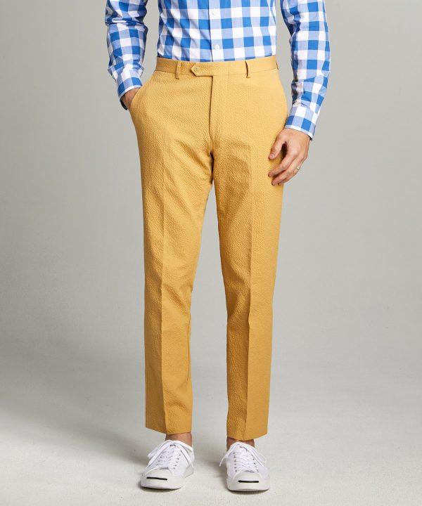 Sutton Seersucker Suit Trouser in Mustard