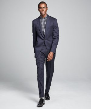 Sutton Stretch Tropical Wool Suit Jacket in Navy