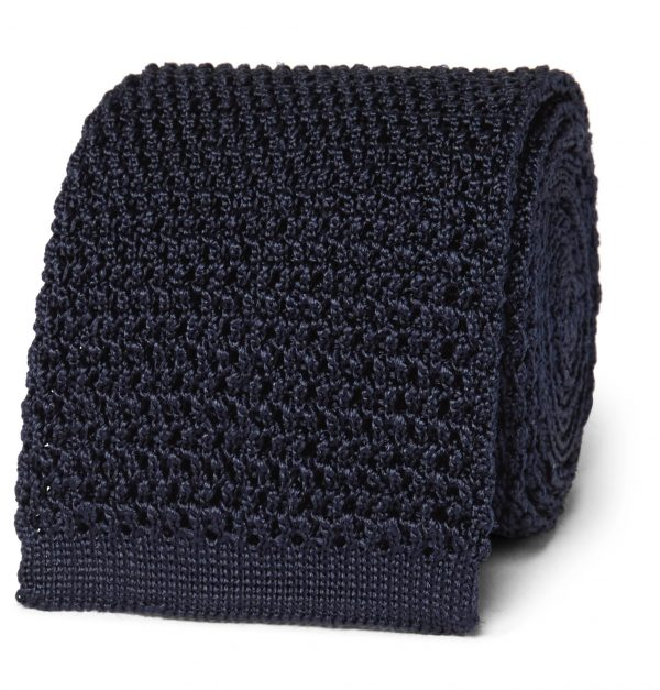 TOM FORD - 7.5cm Knitted Silk Tie - Men - Blue