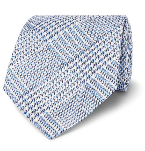 TOM FORD - 8cm Prince Of Wales Checked Silk-Jacquard Tie - Men - Blue
