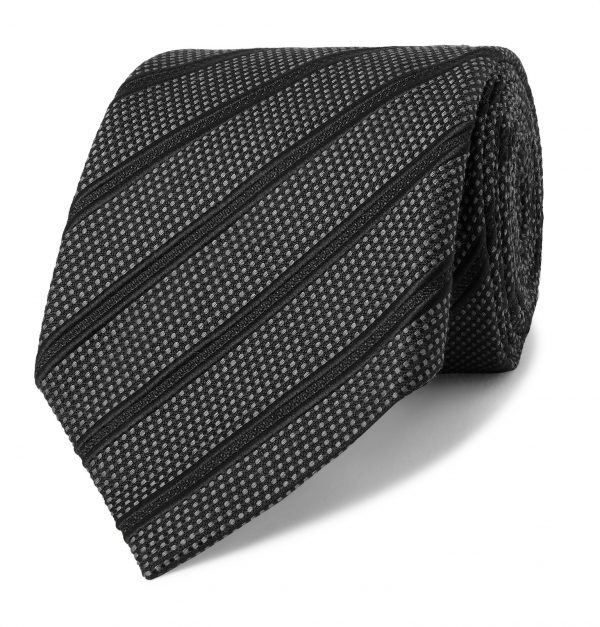 TOM FORD - 8cm Striped Silk, Linen and Cotton-Blend Jacquard Tie - Men - Gray