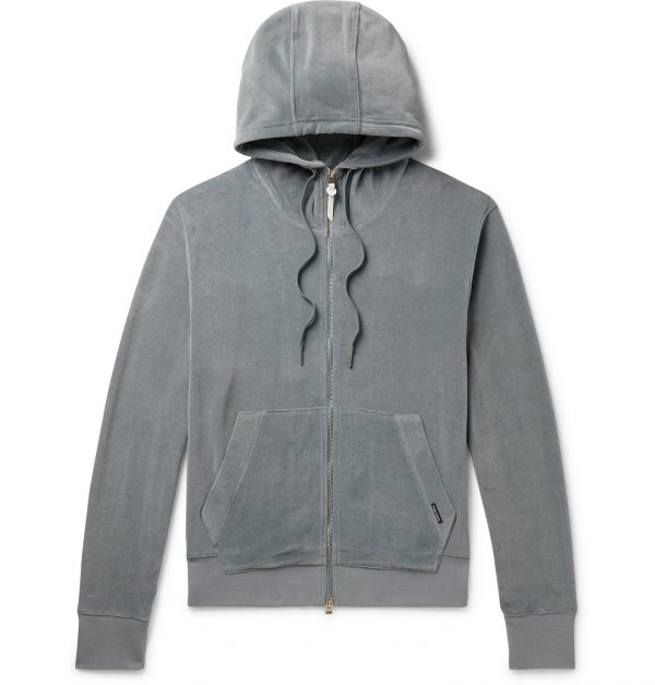 TOM FORD - Cotton-Blend Velour Zip-Up Hoodie - Men - Blue