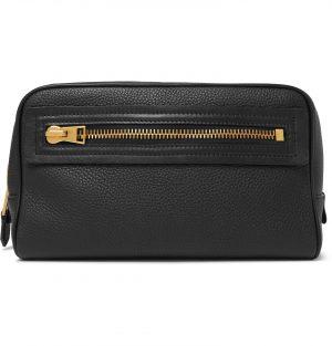 TOM FORD - Full-Grain Leather Wash Bag - Men - Black