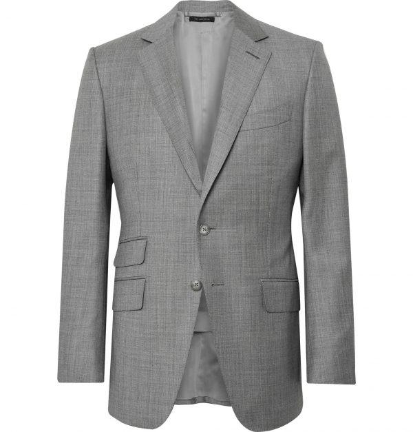 TOM FORD - Grey O'Connor Slim-Fit Super 110s Sharkskin Wool Suit Jacket - Men - Gray
