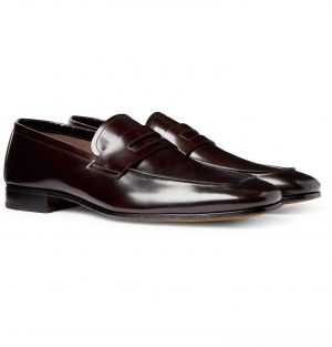 TOM FORD - Midland Spazzolato Leather Penny Loafers - Men - Burgundy