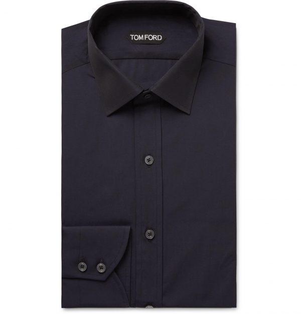 TOM FORD - Midnight-Blue Slim-Fit Cotton-Poplin Shirt - Men - Blue
