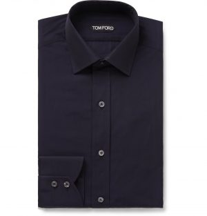 TOM FORD - Navy Cotton Shirt - Men - Blue