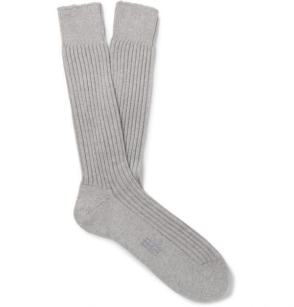 TOM FORD - Ribbed Cotton Socks - Men - Gray