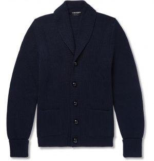 TOM FORD - Shawl-Collar Ribbed Wool Cardigan - Men - Blue