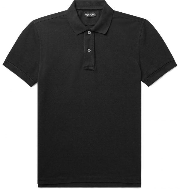 TOM FORD - Slim-Fit Garment-Dyed Cotton-Piqué Polo Shirt - Men - Black